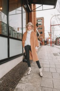 Karissa Pukas wearing a Camel Coloured Coat, Black Denim and Star Print Boots