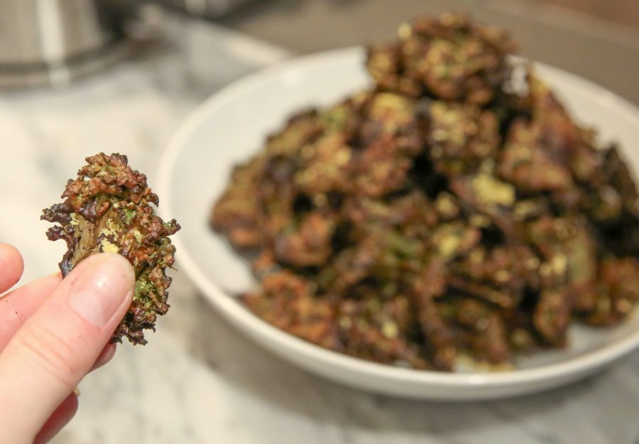 Home made, Cheezy Spicy BBQ Kale Chips