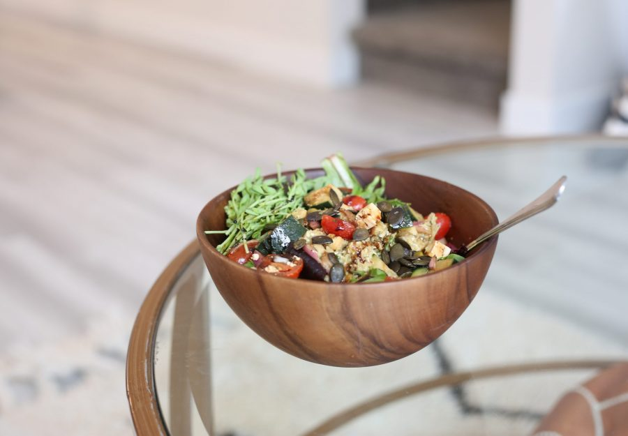 healthy, plant protein packed salad in wooden bowl