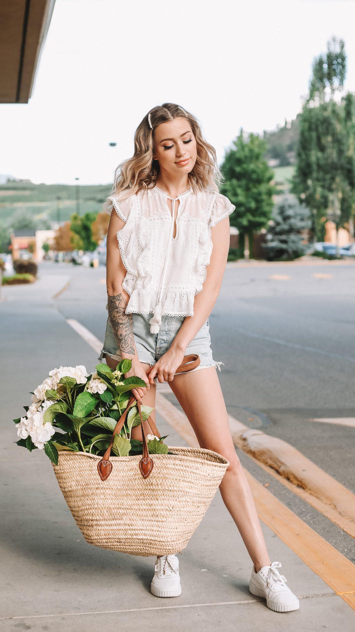 Karissa Pukas with a straw market basket- eco friendly shopping