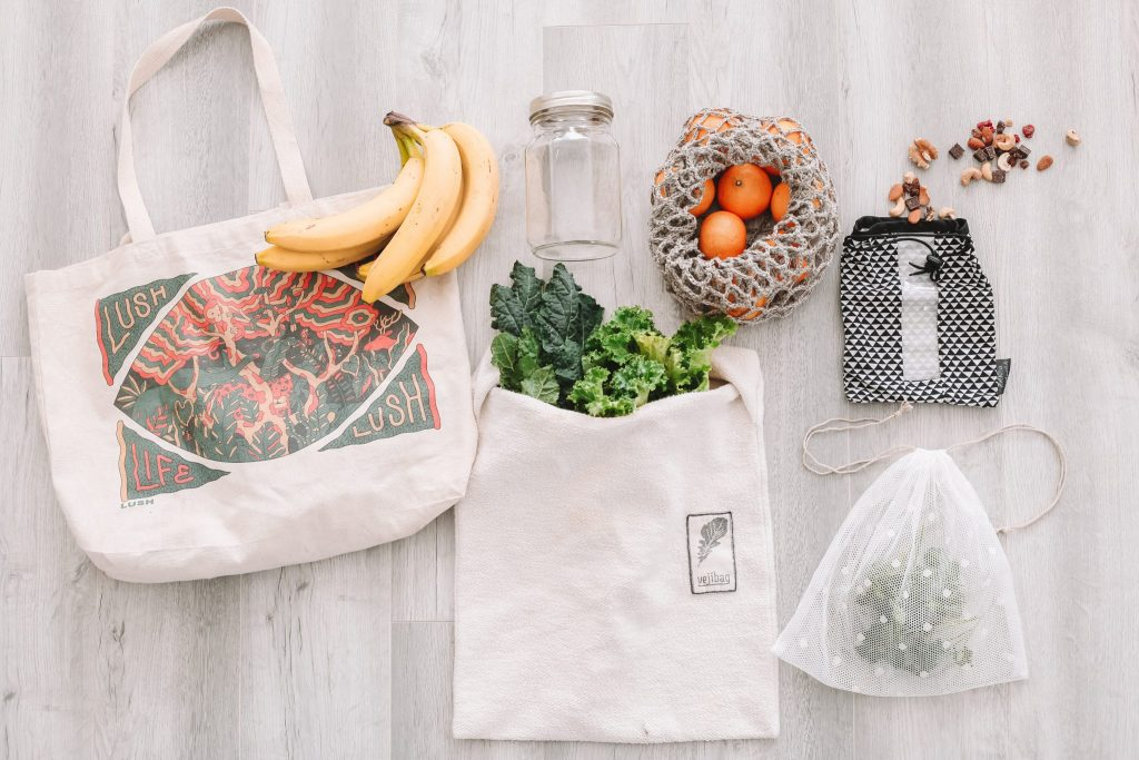 Different Re Useable Bag options on the floor in a flat lay