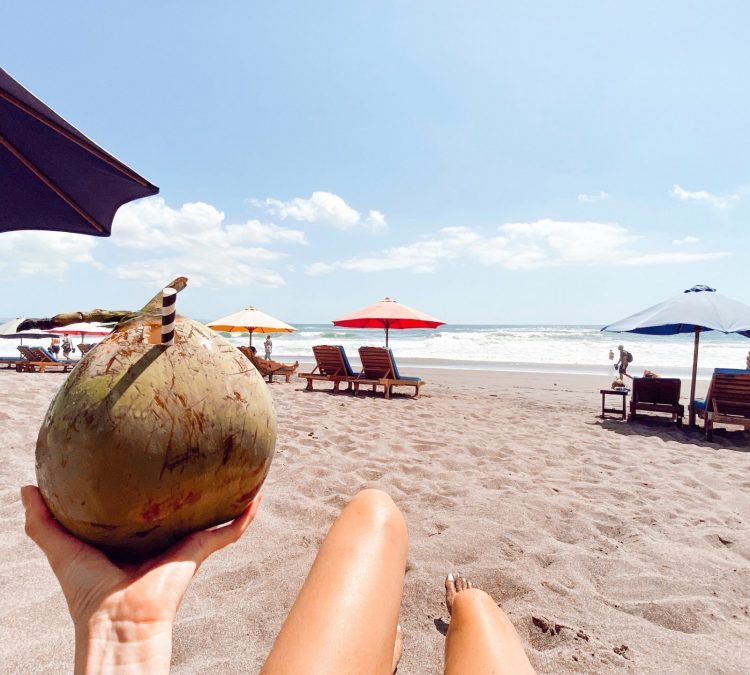 Coconut on Beach at bali karissa pukas legs