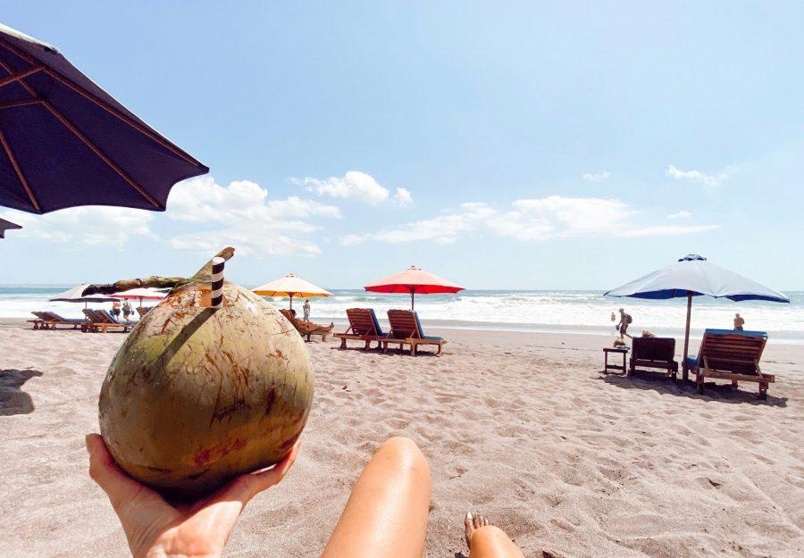 Coconut on Beach at bali karissa pukas legs